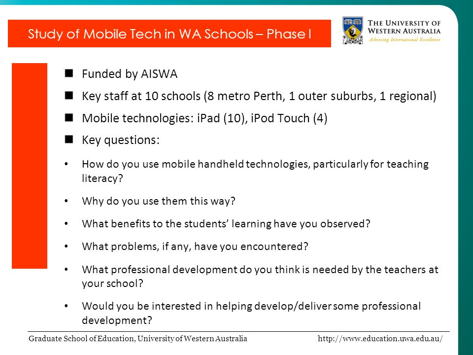 Study of Mobile Tech in WA Schools – Phase I