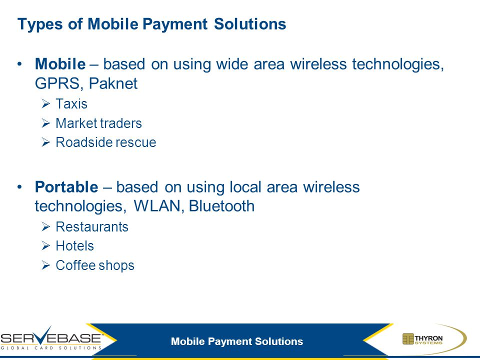Types of Mobile Payment Solutions