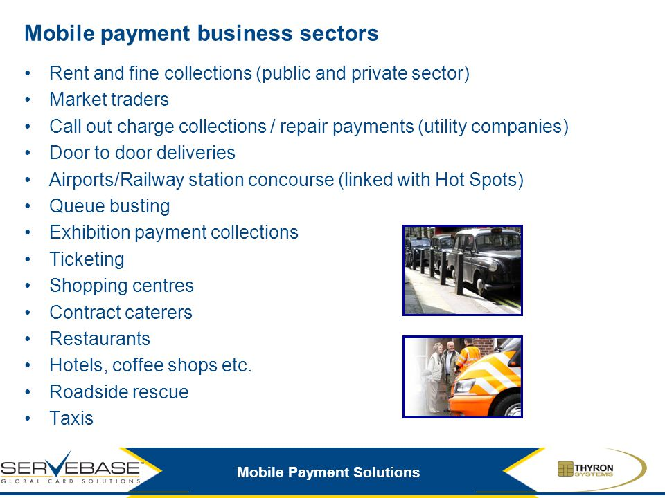 Mobile payment business sectors