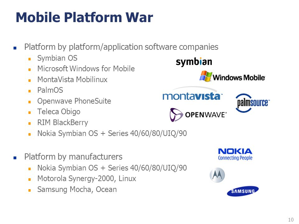 Mobile Platform War Platform by platform/application software companies. Symbian OS. Microsoft Windows for Mobile.