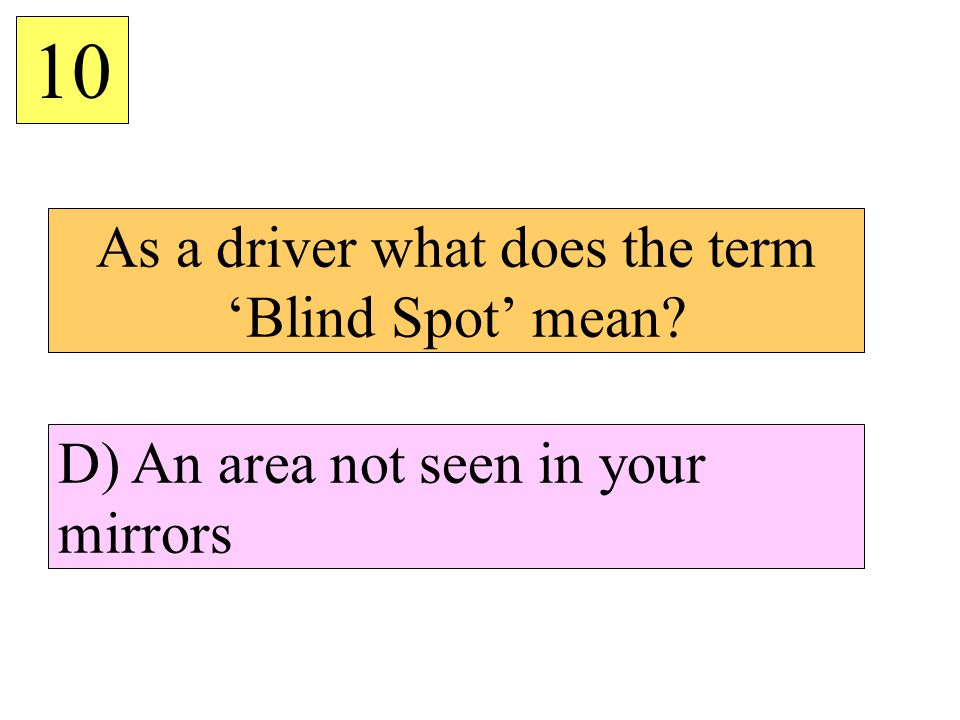 As a driver what does the term 'Blind Spot' mean