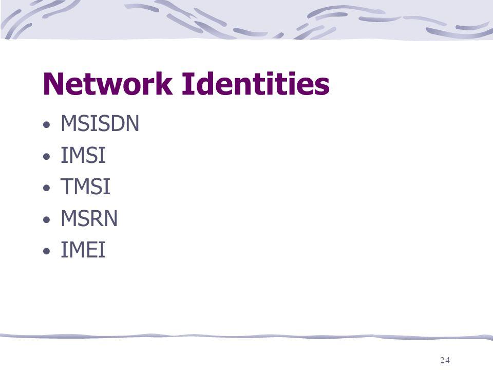 Network Identities MSISDN IMSI TMSI MSRN IMEI