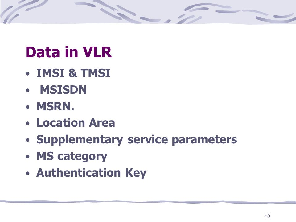 Data in VLR IMSI & TMSI MSISDN MSRN. Location Area
