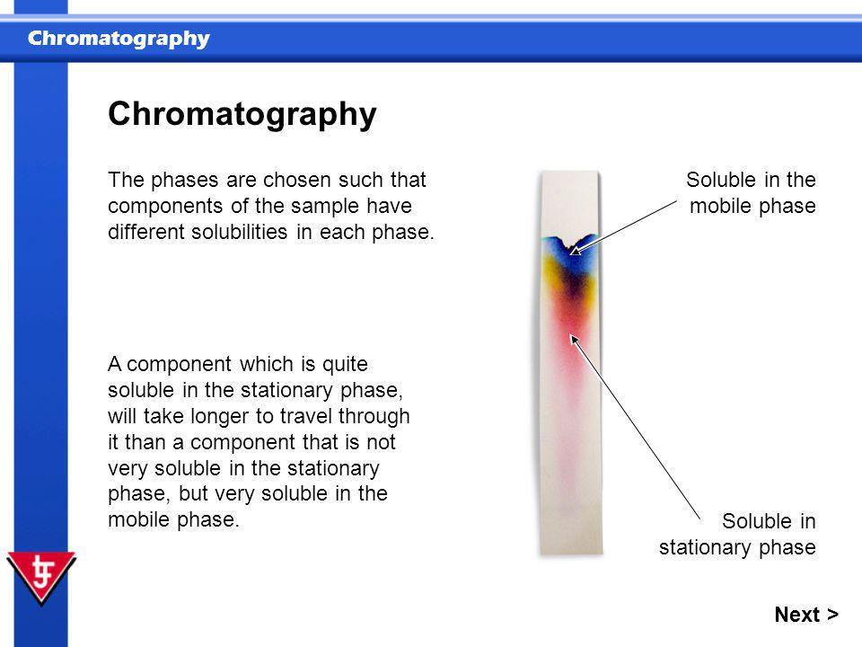 Chromatography The phases are chosen such that components of the sample have different solubilities in each phase.