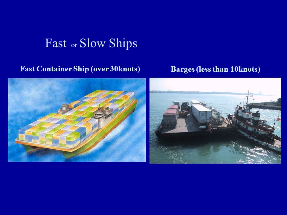 Fast Container Ship (over 30knots) Barges (less than 10knots)