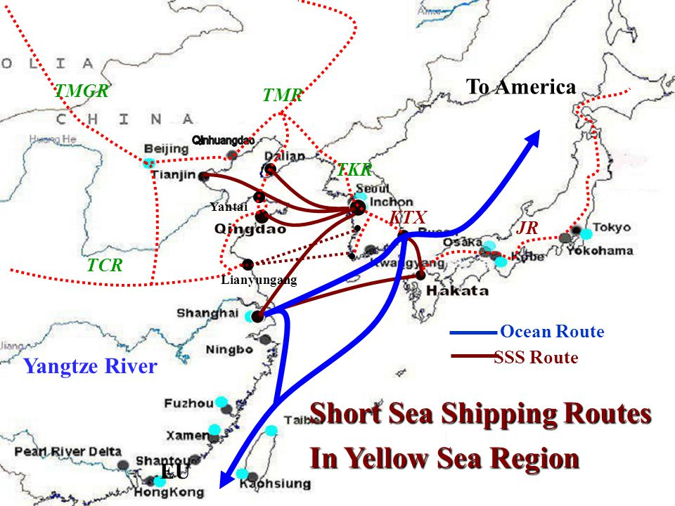 Short Sea Shipping Routes In Yellow Sea Region