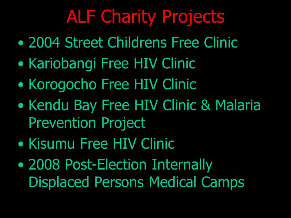 ALF Charity Projects 2004 Street Childrens Free Clinic