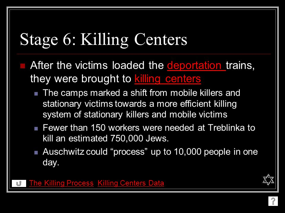 Stage 6: Killing Centers