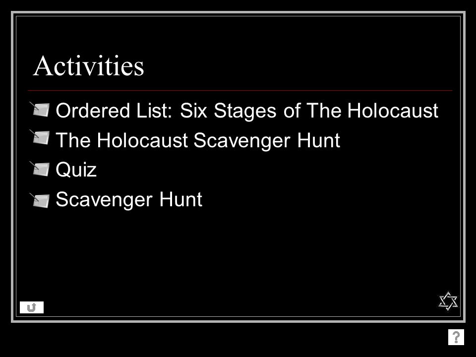 Activities Ordered List: Six Stages of The Holocaust