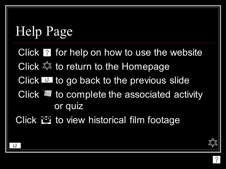 Help Page Click for help on how to use the website
