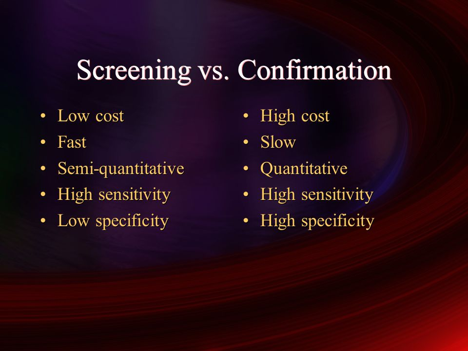 Screening vs. Confirmation