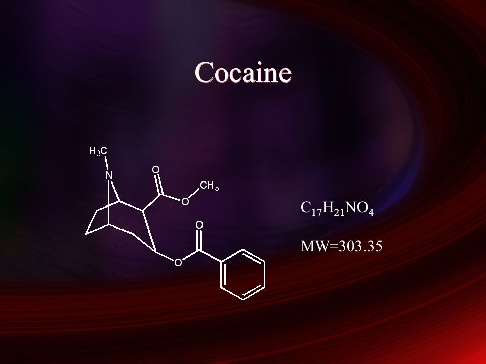 Cocaine C17H21NO4 MW=303.35