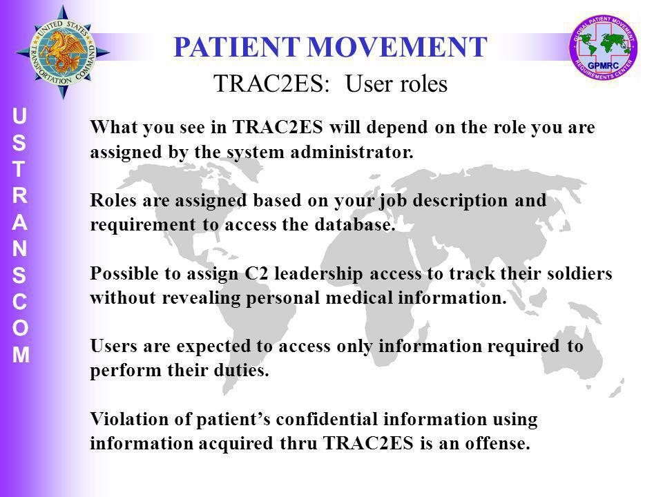 PATIENT MOVEMENT TRAC2ES: User roles