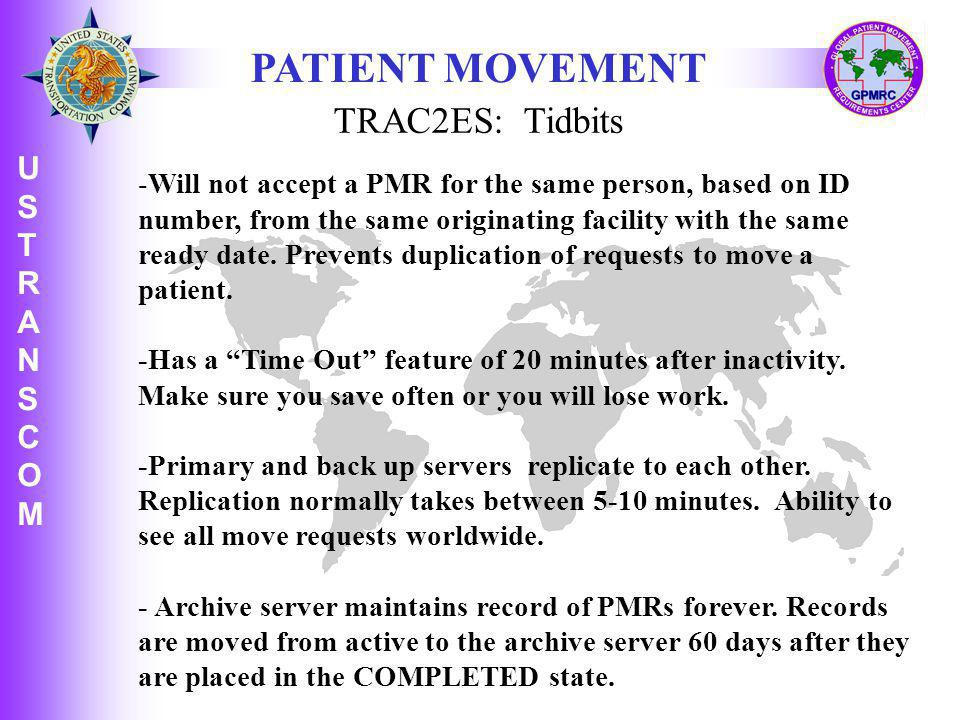 PATIENT MOVEMENT TRAC2ES: Tidbits