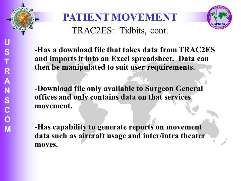 PATIENT MOVEMENT TRAC2ES: Tidbits, cont.