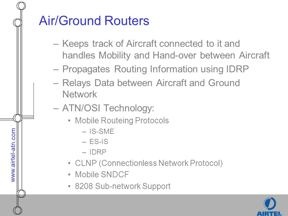 Air/Ground Routers Keeps track of Aircraft connected to it and handles Mobility and Hand-over between Aircraft.