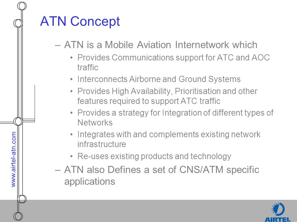 ATN Concept ATN is a Mobile Aviation Internetwork which