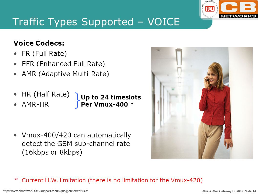 Traffic Types Supported – VOICE