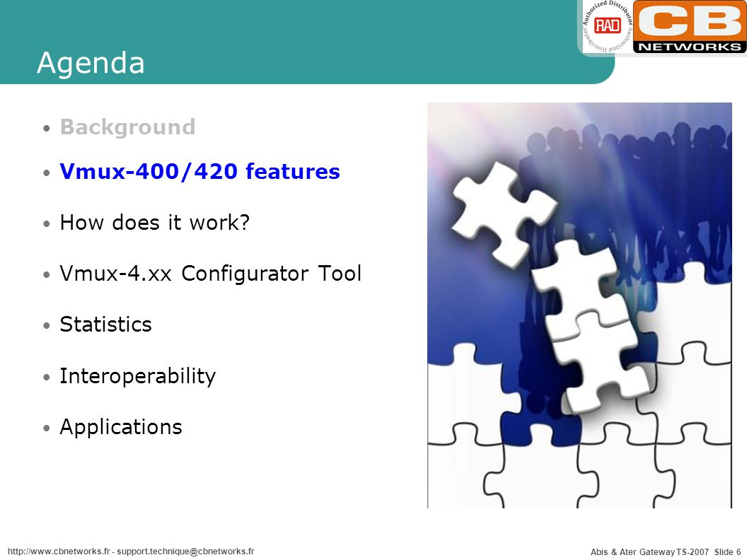 Agenda Background Vmux-400/420 features How does it work