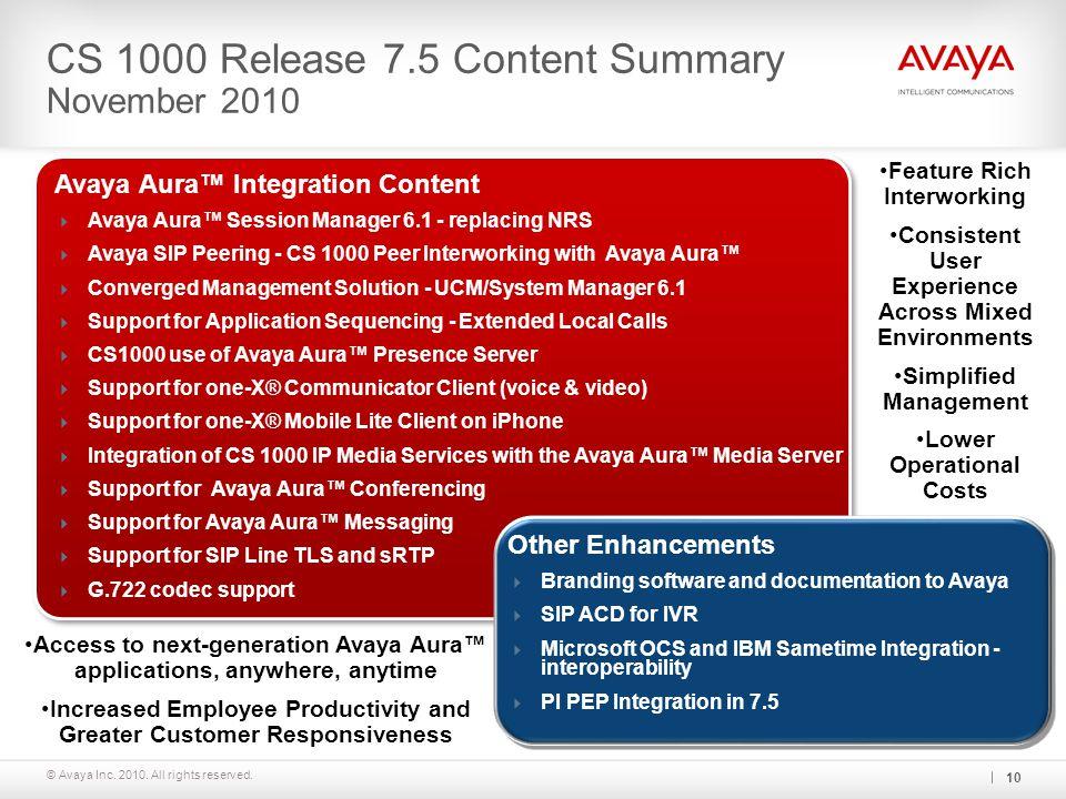 CS 1000 Release 7.5 Content Summary November 2010