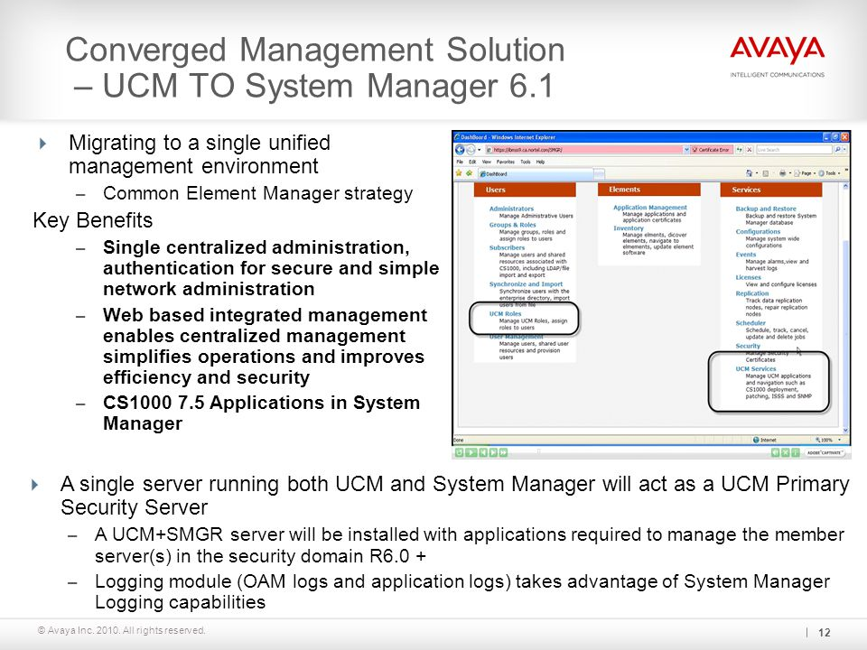 Converged Management Solution – UCM TO System Manager 6.1