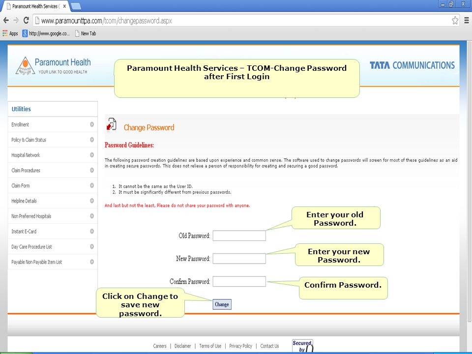 Paramount Health Services – TCOM-Change Password after First Login