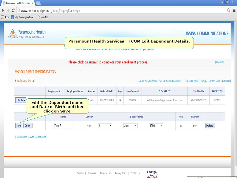 Paramount Health Services – TCOM Edit Dependent Details.