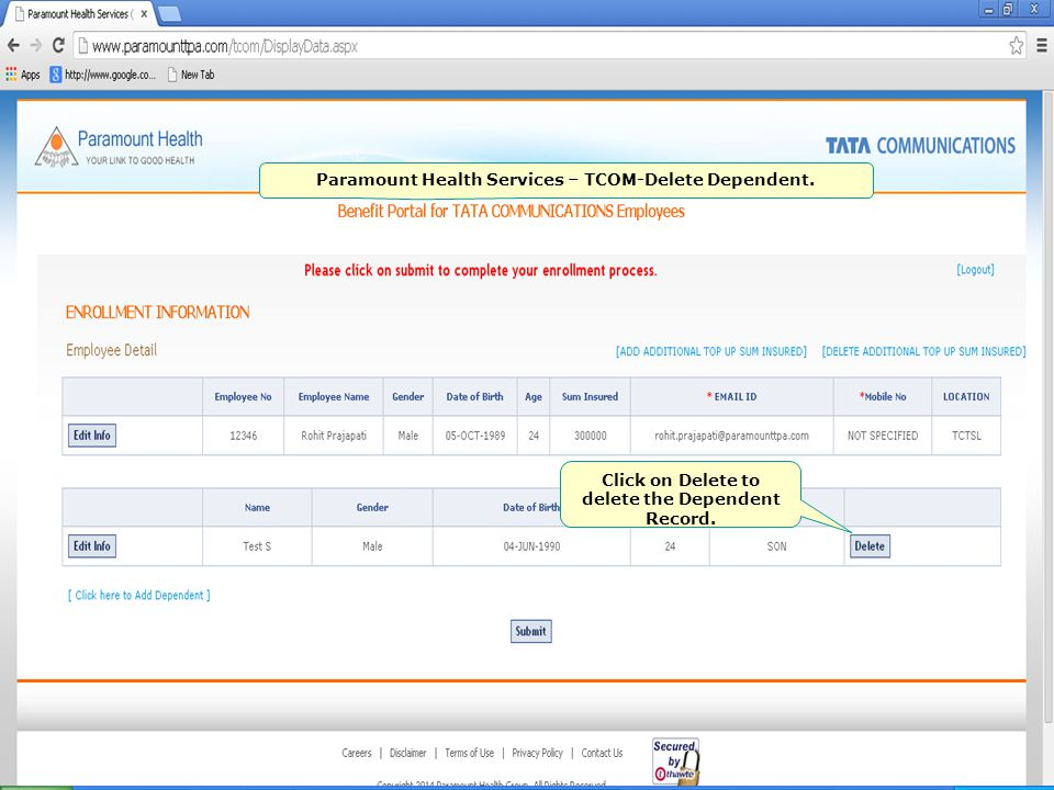 Paramount Health Services – TCOM-Delete Dependent.