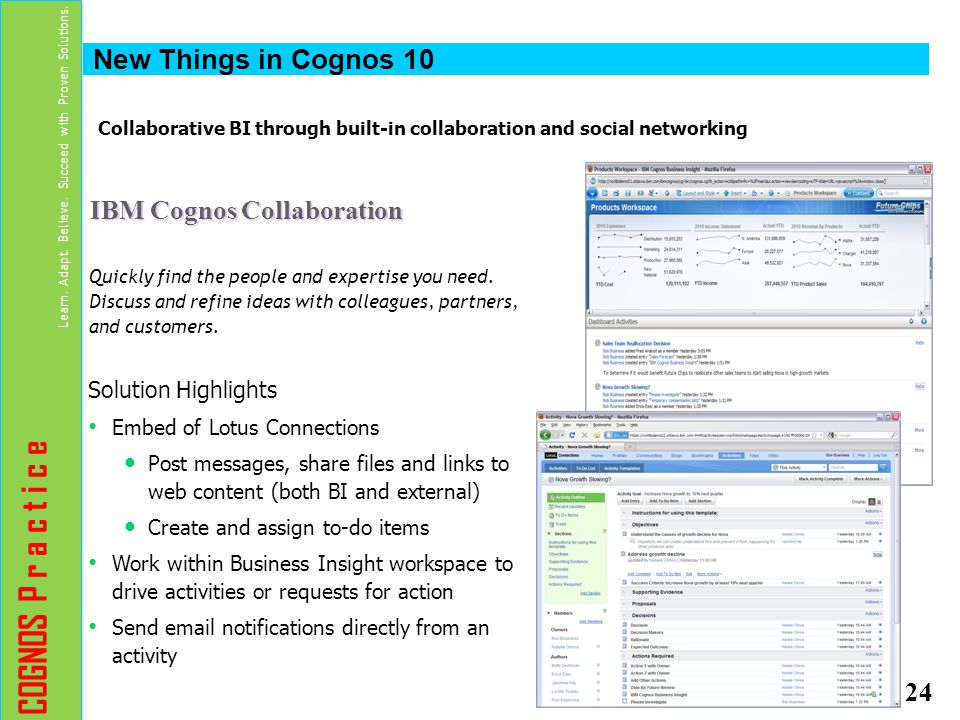 Collaborative BI through built-in collaboration and social networking