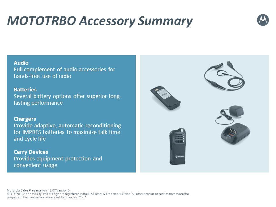 MOTOTRBO Accessory Summary