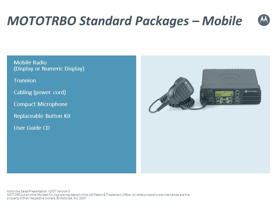 MOTOTRBO Standard Packages – Mobile