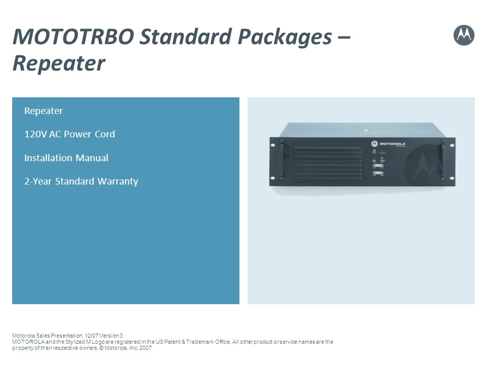 MOTOTRBO Standard Packages – Repeater
