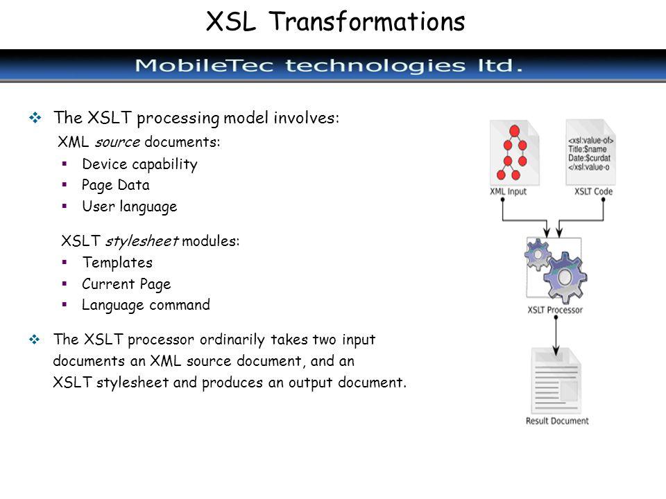 XSL Transformations The XSLT processing model involves: