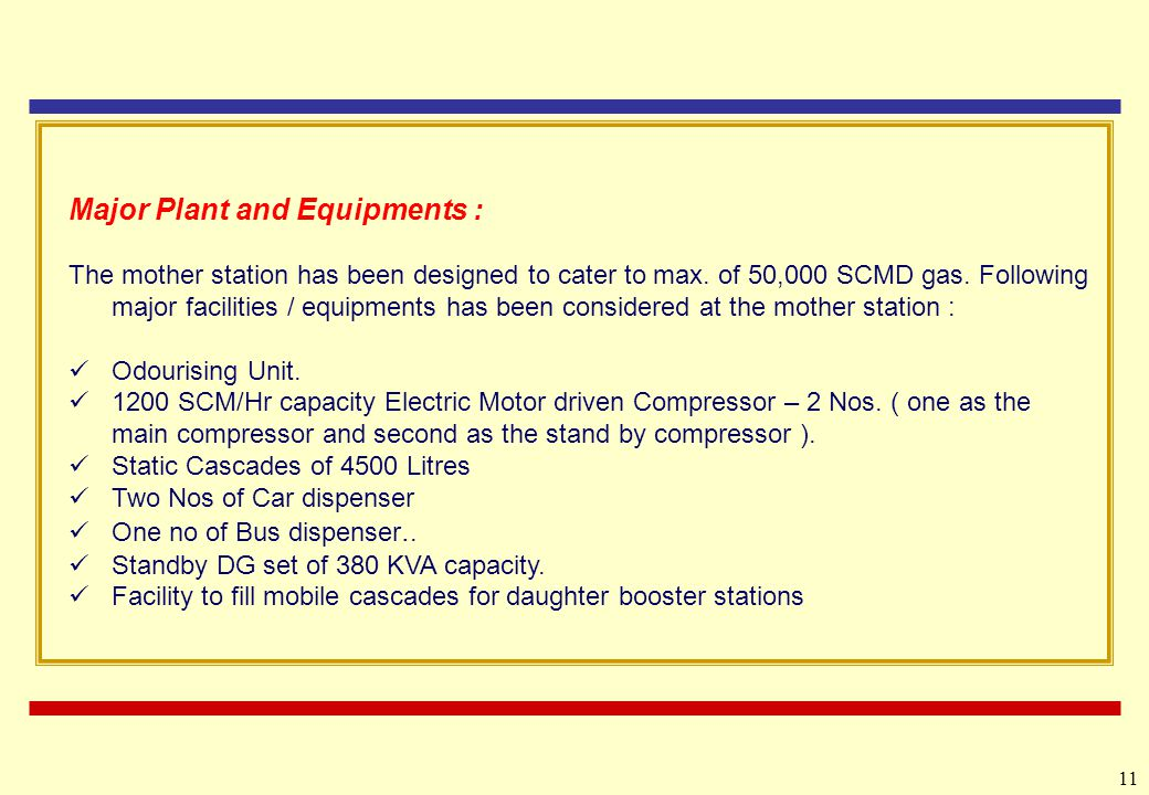 Major Plant and Equipments :
