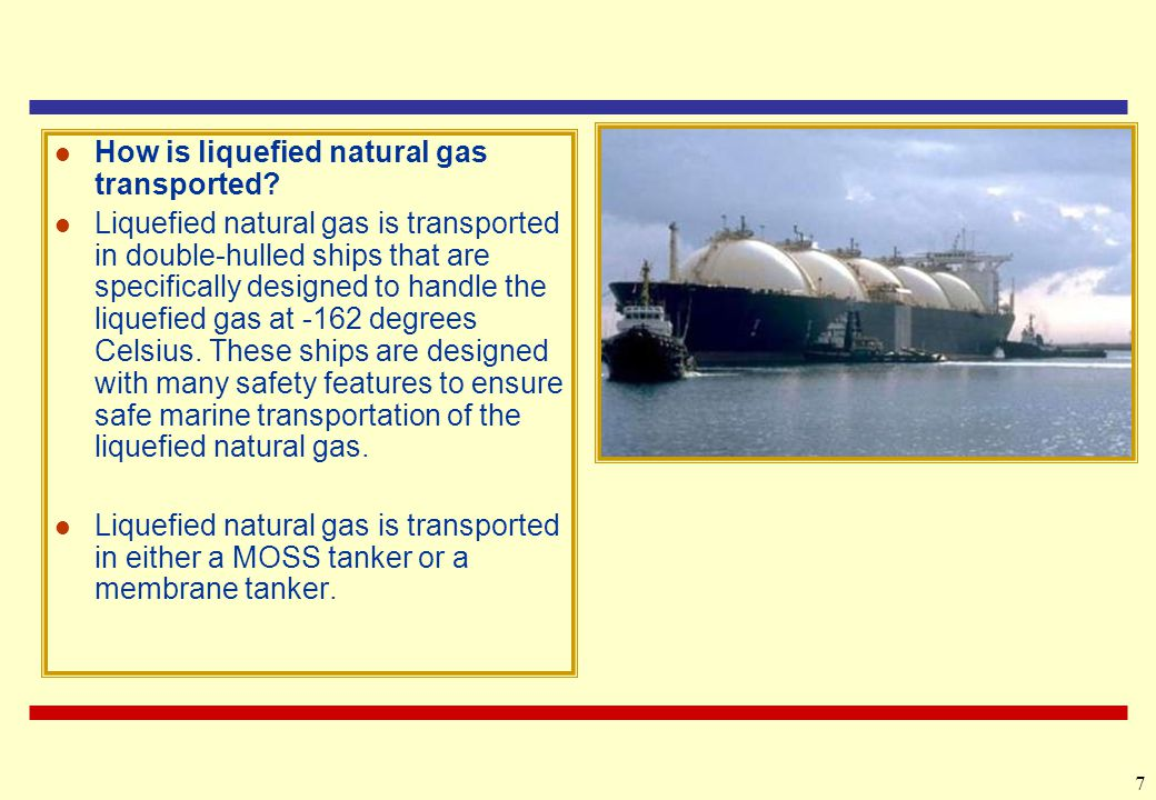 How is liquefied natural gas transported