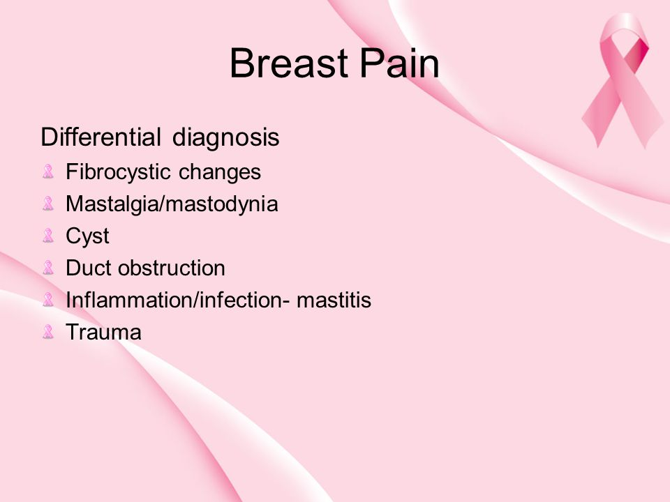 Breast Pain Differential diagnosis Fibrocystic changes