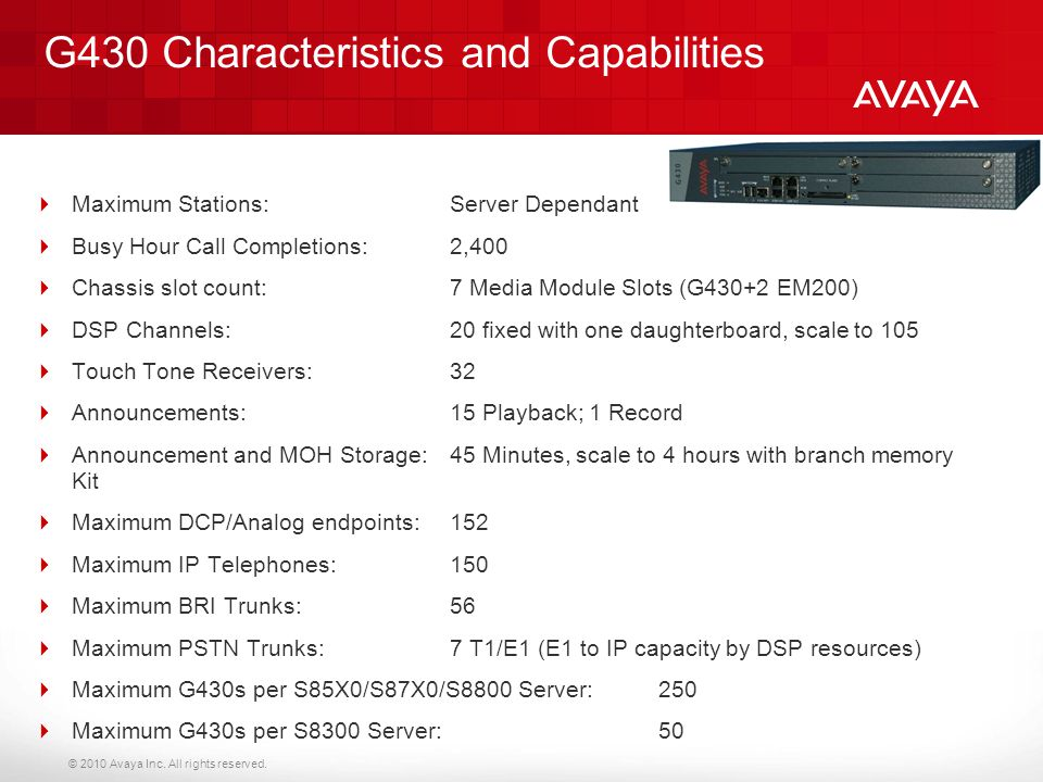 G430 Characteristics and Capabilities