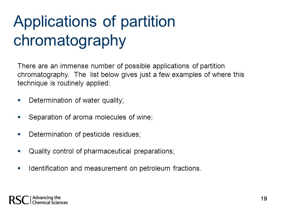 Applications of partition chromatography