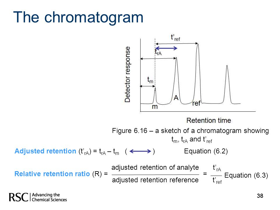 Figure 6.16 – a sketch of a chromatogram showing