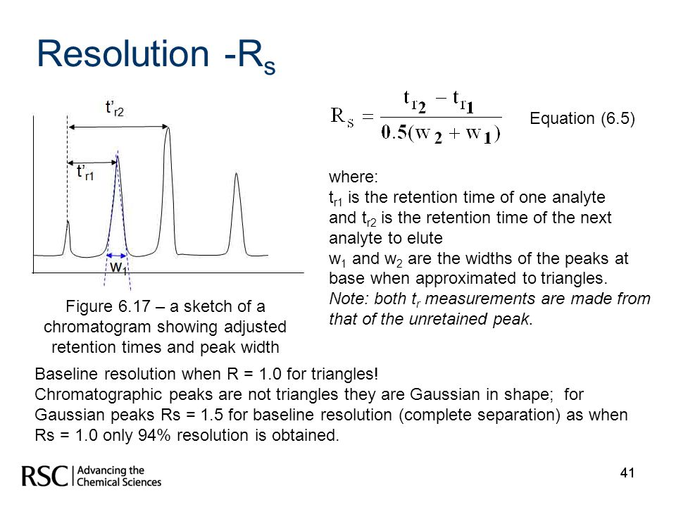 Resolution -Rs Equation (6.5) where: