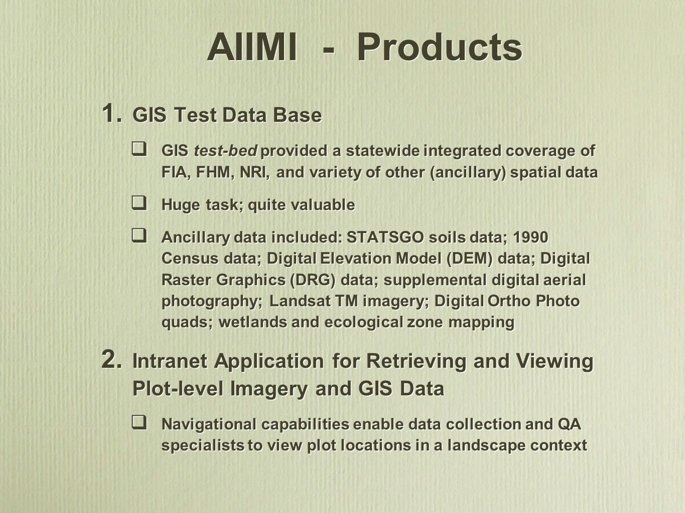 AIIMI - Products GIS Test Data Base