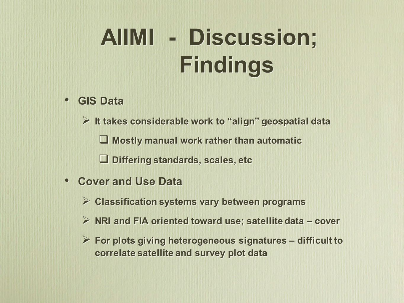 AIIMI - Discussion; Findings
