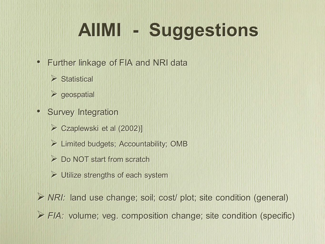AIIMI - Suggestions Further linkage of FIA and NRI data