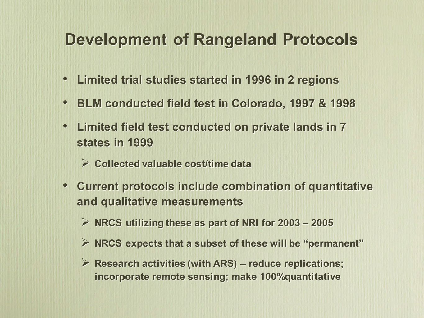 Development of Rangeland Protocols