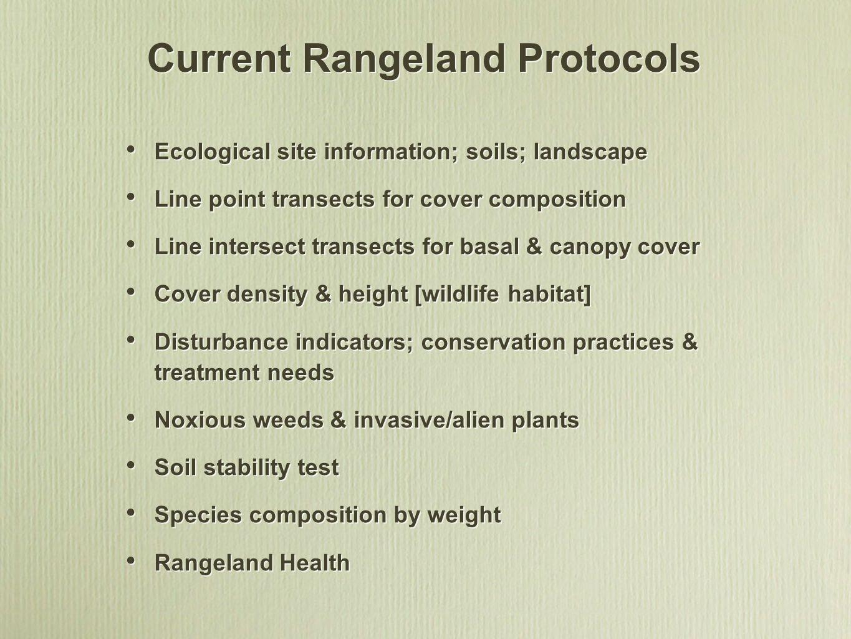 Current Rangeland Protocols