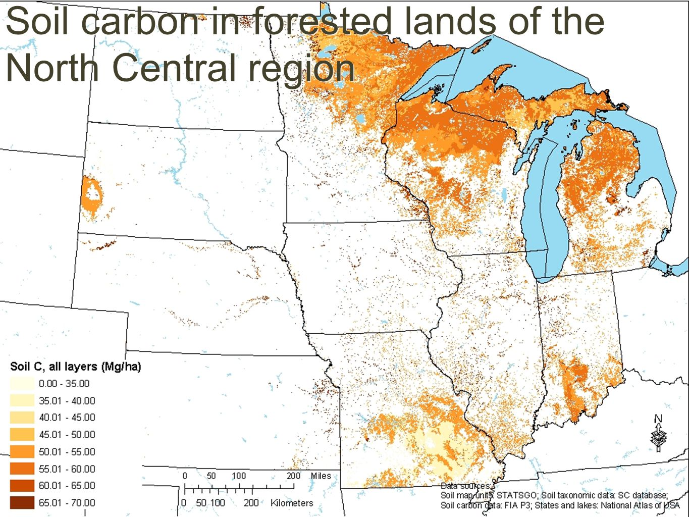 Soil carbon in forested lands of the North Central region