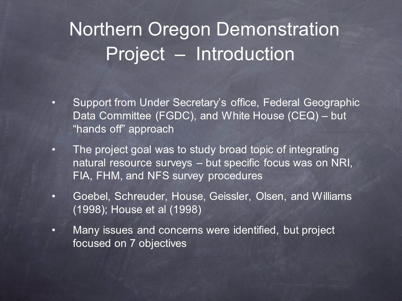 Northern Oregon Demonstration Project – Introduction