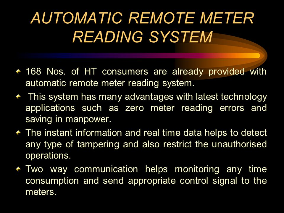 AUTOMATIC REMOTE METER READING SYSTEM