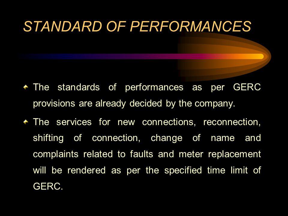 STANDARD OF PERFORMANCES