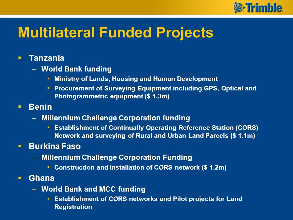 Multilateral Funded Projects